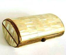 Vintage Kigu Mother of Pearl Encased  Bolster Shaped Powder Compact.