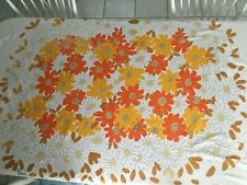 Vintage Vera Tablecloth Orange and White Flower Power Mid Century Modern