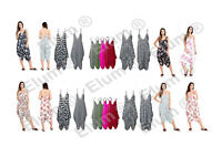 Womens Ladies V Neck Baggy Hareems All In One Jumpsuit Romper Dress Plus Size