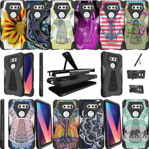 For LG V30 (2017) Shockproof Case Dual Layer Cover with Built-in Kickstand
