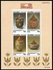 Thailand Imperf Pottery Souvenir Sheet w/ BANGKOK 1993 Overprint Scott # 1552a