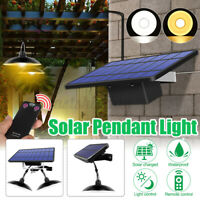 Solar Powered LED Pendant Lamp Ceiling Hanging Light Outdoor Garden Garage Shed