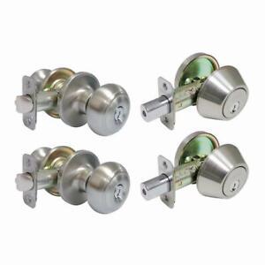 Defiant Hartford Satin Nickel Silver Set: 2 door locks & 2 deadbolts single key