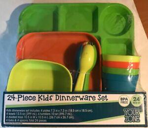 Your Zone ~ 24 Piece Kids' Dinnerware Set ~ Dishwasher/Microwave Safe~ Brand New