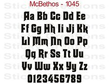 #1045 CUSTOM LETTERS Vinyl Graphic Windshield Decal Bold Lettering Text McBethos