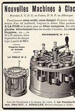 J. SCHALLER MACHINE A GLACE PARIS PUBLICITE PUB 1914 FRENCH AD