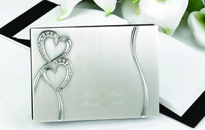 Sparkling Love Engraved Silver Wedding Guest Book (10007 S6L)