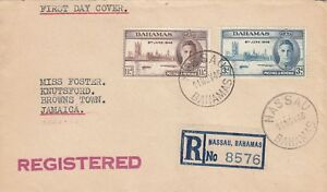 KK4447 Nassau cds Nov.1946 Reg First Day Cover to Jamaica. Victory Stamps.