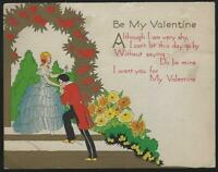 Vintage Valentine Cards with Girl with Mirror, Prince and Princess Lot of Two