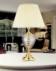 Bedside Lamp Lumetto Classic Metal And Crystal Clear