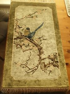 Vintage Chinese Silk Floral & Bird Design Rug / Wall Hanging