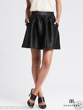 NEW BR Banana Republic Womens Pleat Faux Leather Mini Skirt Zip Black 8 M $98