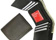 BLACK MENS LEATHER CREDIT CARD HOLDER PLAIN  TRIFOLD WALLET ID CENTER FLAP