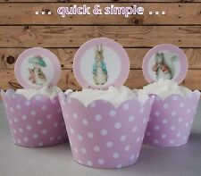 #584. Peter Rabbit pink Baby Shower circle EDIBLE wafer cupcake cake toppers