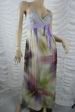 REVIEW purple mauve marble tie dye print 100% silk formal maxi dress size 10 EUC