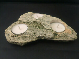 Natural Unique Triple  Tea Light  Candle Holder From Natural  Stone Island Shape