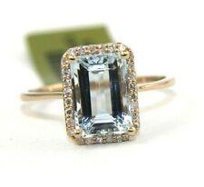 Emerald Cut Aquamarine & Diamond Halo Lady's Ring 14k Rose Gold 2.36Ct