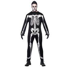 Smiffys Adult Men's Skeleton Jumpsuit Costume Hood and Gloves Legends of Evil