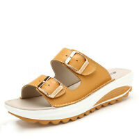 SOCOFY Women Summer Casual Slippers Platform Wedge Beach Shoes Buckle Sandals