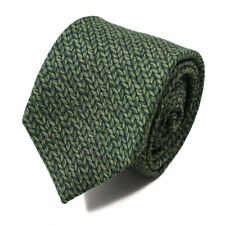 NWT $230 ISAIA NAPOLI Leaf Green Chevron Printed Wool Tie