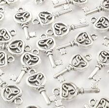BC03 Perlen Metallperlen Anhänger Charm Schlüssel 10x Halskette Armband Silber
