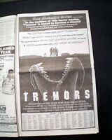 Best TREMORS Cult Film Movie Opening Day AD Review 1990 Los Angeles Newspaper