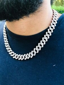 """Iced Miami Cuban Link Choker necklace 2 Prong Set chain 14k Rhodium Pl 12mm 20"""""""
