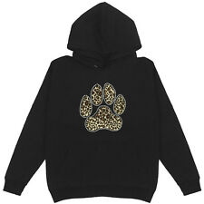 Leopard Paw Women's Pullover Hoodie Plus Size Unisex Cotton Bling Cute Animal