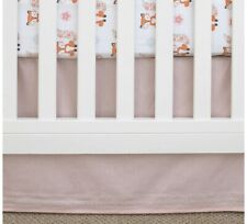 NoJo Aztec Nursery Crib Bedskirt/Dust Ruffle with Embroidered Trim, Pink