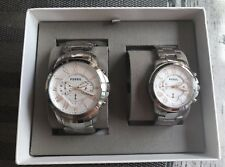 NEW FOSSIL SET OF 2 HIS & HERS SILVER+ROSE GOLD TONE,BRACELET WATCH BQ2180SET