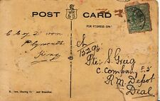 Family History Postcard - Pte S Greig - R.M. Depot - Deal - Ref 2486A