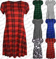 Womens Printed Short Cap Sleeve Skater Swing Dress Flared Plain