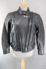 ASHMAN BLACK COWHIDE LEATHER BIKER JACKET SIZE 16