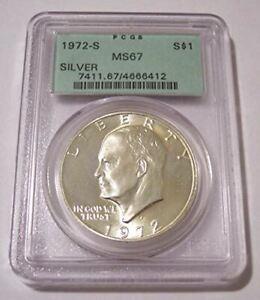 1972 S Eisenhower Silver Dollar MS67 PCGS OGH