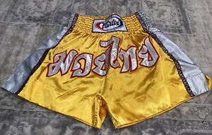 Mens SHORTS FAIRTEX MUAY THAI FIGHT MMA KICK BOXING Yellow Nylon Sz Medium