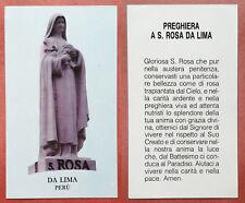 Santino Holy Card: S. Santa Rosa da Lima - Perù