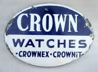 1930's Rare Vintage Old Crown Watches Ad Oval Shape Porcelain Enamel Sign Board