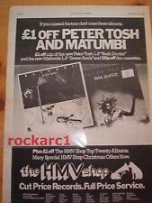 Peter Tosh / Matumbi albums 1978 Uk Poster size Press Advert 16x12 inches reggae