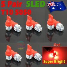 10x Red Ultra Bright T10 5 SMD 5050 LED Car Interior Light Wedge Lamp Bulbs Auto
