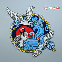 Round White Cranes Dancing Blue Clouds Patches ,Collar Appliques,Jacket Patch,