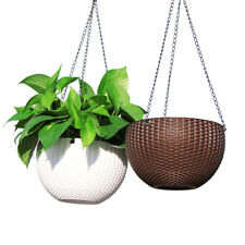 2x Landen Rattan Hanging Plant Pots Flower Baskets Planters Self Watering Wall
