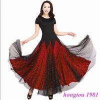 Fashion Womens Short Sleeves Waltz Tango Modern Dance Ball Gown Long Dress New