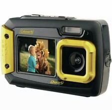 Coleman Duo2 20 MP Waterproof Digital Camera with Dual LCD Screen Yellow 4GB Inc