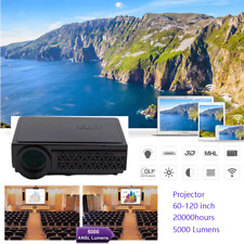 3D WIFI 5000 Lumen 1080P FULL HD Home Cinema HDMI Video Movie TV LED Projector
