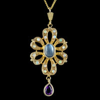 OPAL MOONSTONE AMETHYST PENDANT NECKLACE STERLING SILVER 18CT GOLD GILT