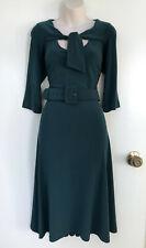 LEONA EDMISTON *Frocks* Green 3/4 Sleeve Dress Belt & Neck Tie Detail  s 3 / 14