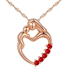 Women's Sterling Silver Rose Gold Plated Red Ruby Necklace Mother Child Pendant