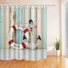Anchor Lifebuoy Board Shower Curtain Bathroom Waterproof Fabric & 12 Hook 71*71""