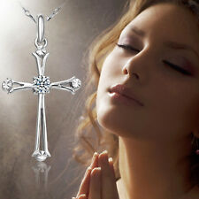 Beauty Women White Gold Plating Cross Crystal Necklace Pendant Jewelry High Sale