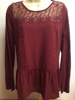 Lauren Conrad LC Womens Small Blouse Red Lace Sheer Ruffle Long Sleeve Holiday